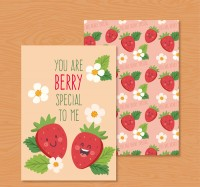 Strawberry friendship blessing card