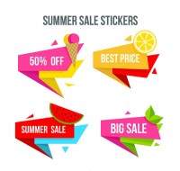 Summer food promotion stickers