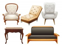 Table chair sofa and chair vector