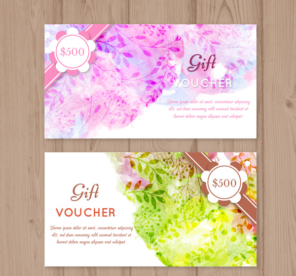 Water painted flower vouchers