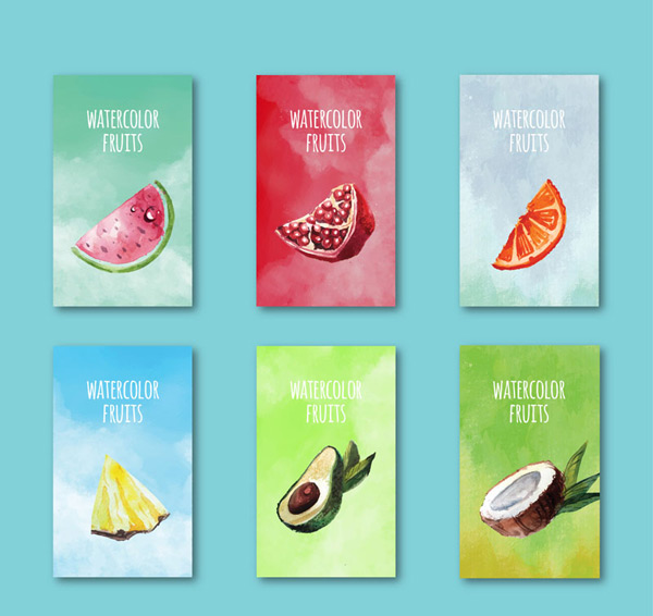 Water painted fruit cards