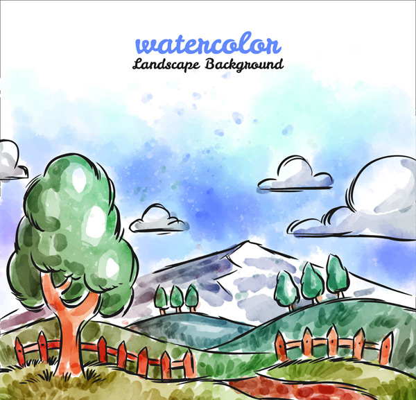 Water painting landscape in the suburbs