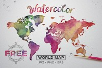 Watercolor texture map of the world