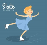 A blonde woman skating
