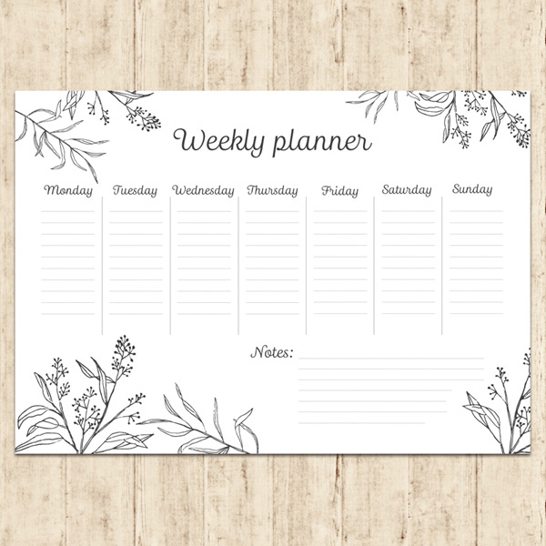 A weekly plan for flowers and plants