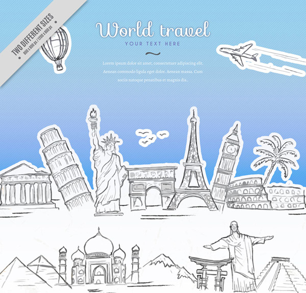 Architectural illustration of travel signs