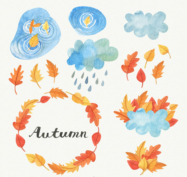 Autumn leaves and clouds