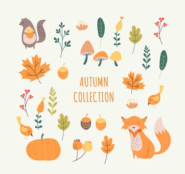 Autumn plants and animals
