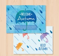 Autumn umbrella card