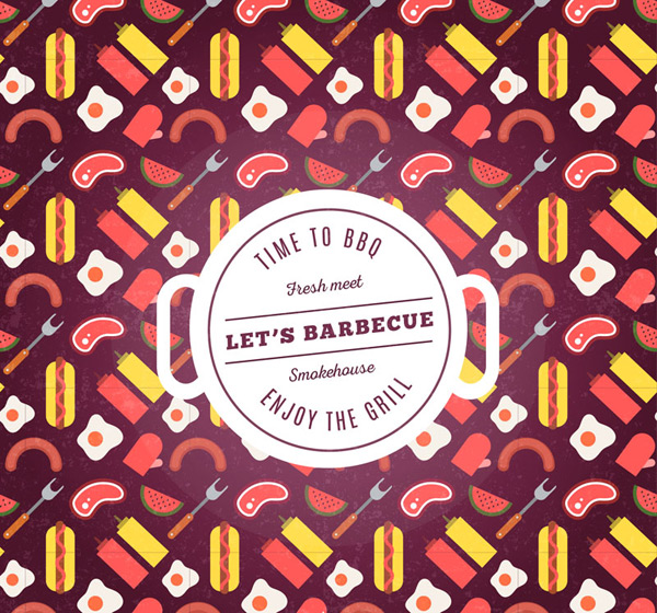 Barbecue food seamless background