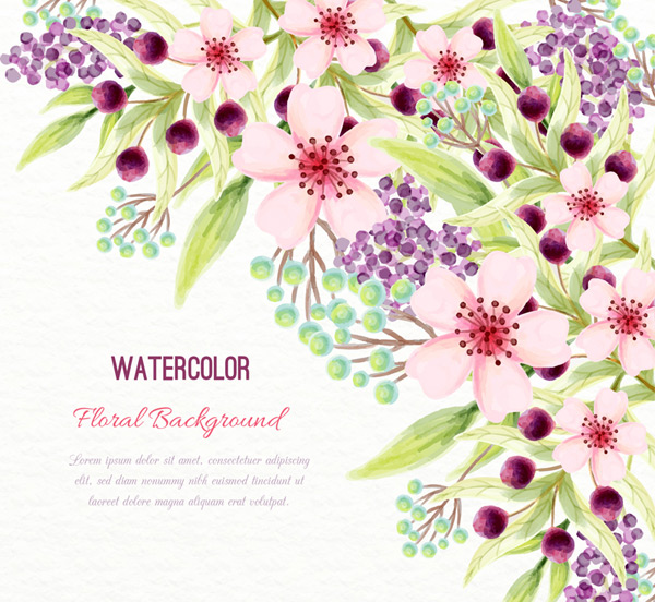 Beautiful flowers painted with water