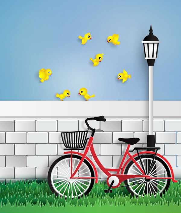 Bicycle and yellow bird