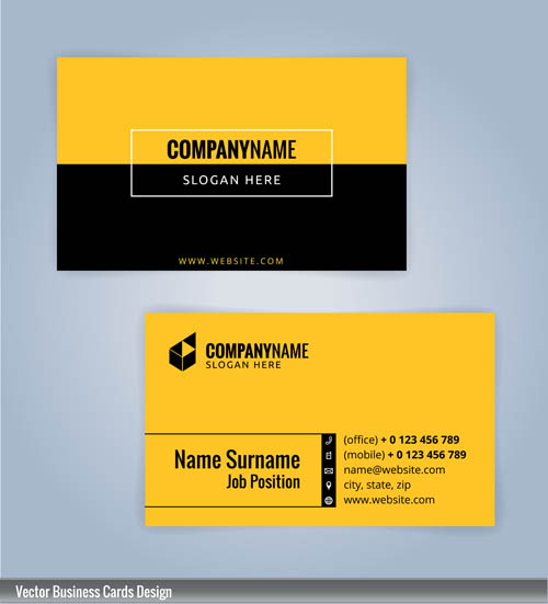 Black and yellow business card vector
