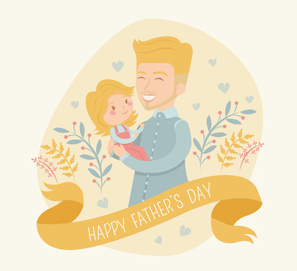 Blonde father and daughter holiday cards