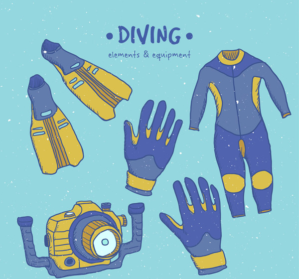 Blue diving supplies