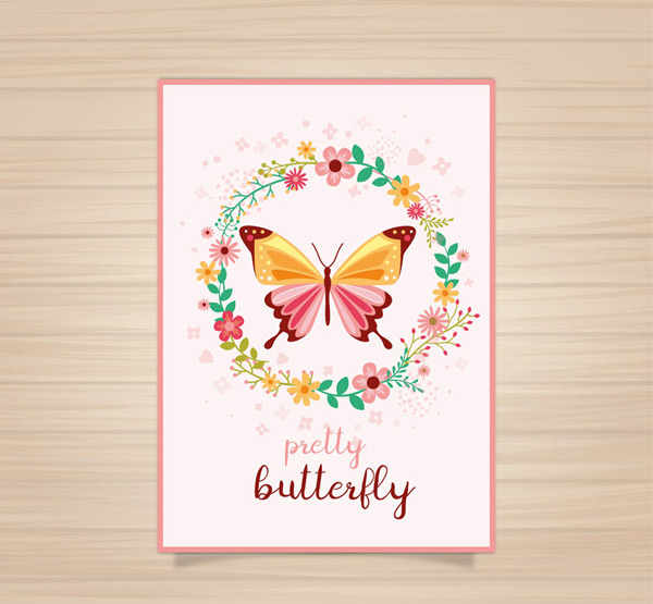 Butterfly and garland cards