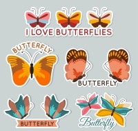 Butterfly tag vector