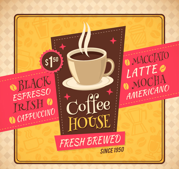 Cafe poster vector