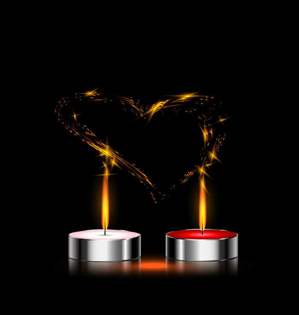 Candle and love vector