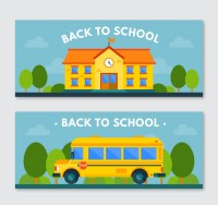 Cartoon back to school banner