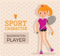 Cartoon badminton girl