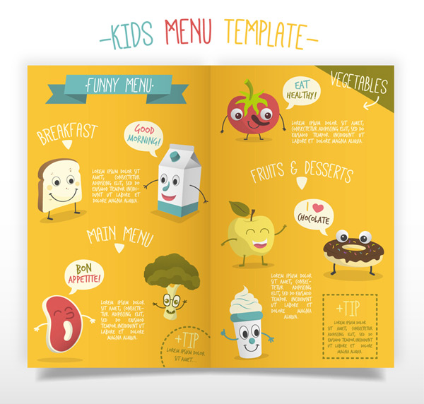 Cartoon children menu