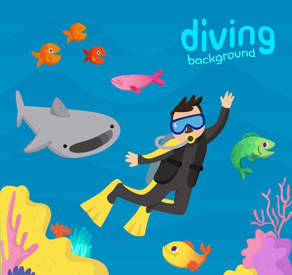 Cartoon diving man