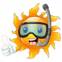 Cartoon diving mirror sun