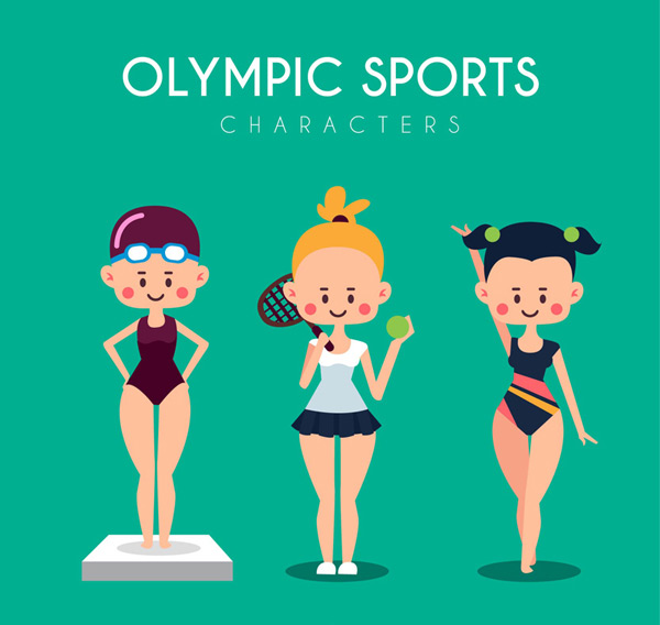 Cartoon female athletes