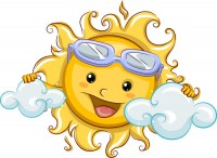 Cartoon happy sun vector