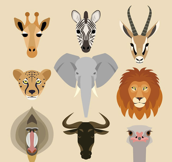 Cartoon head of wild animals