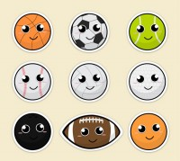Cartoon smiley ball games