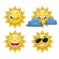 Cartoon smiley face sun vector