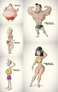 Cartoon summer swimsuit characters