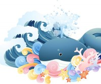 Cartoon whale in the waves
