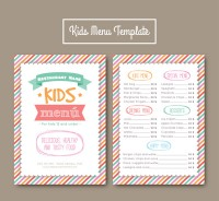 Children s menu with colored stripes