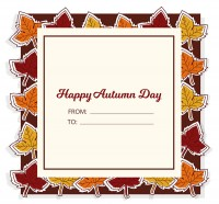 Color autumn leaves blessing card