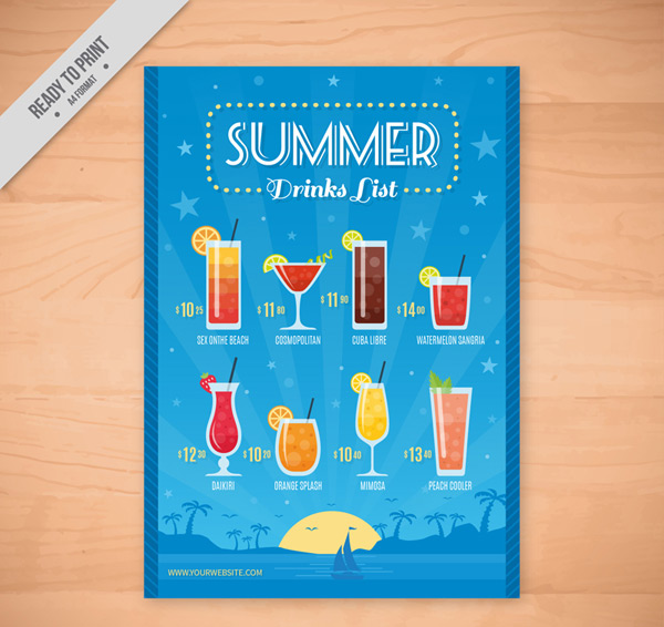 Color summer drink list