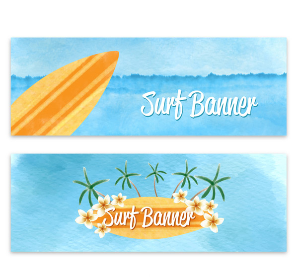 Color surfboard banner