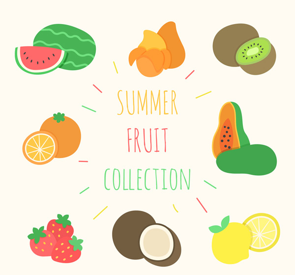Colorful summer fruits
