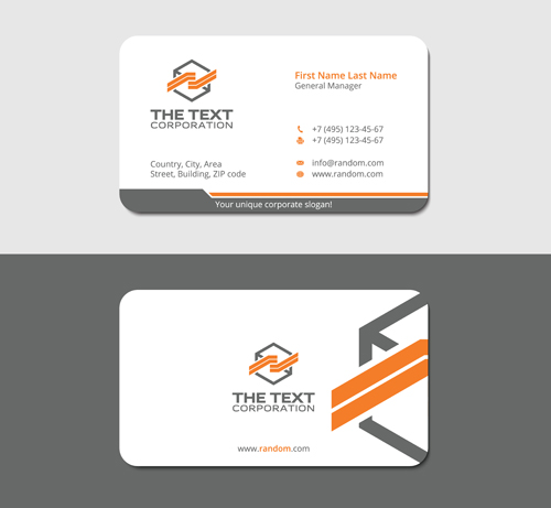 Corner style business card