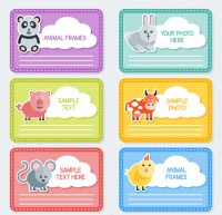 Cute animal photo border