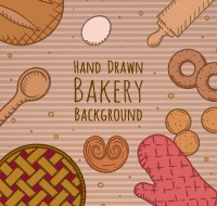 Decorative background of baking elements