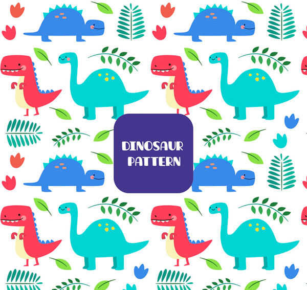 Dinosaur and leaf background