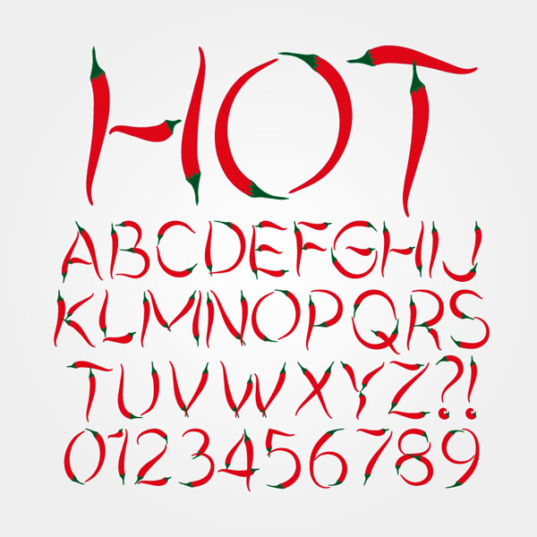 English alphabet for chili peppers