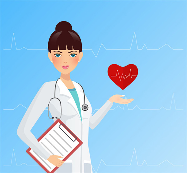Female doctors and electrocardiogram