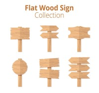 Flat wooden road signs