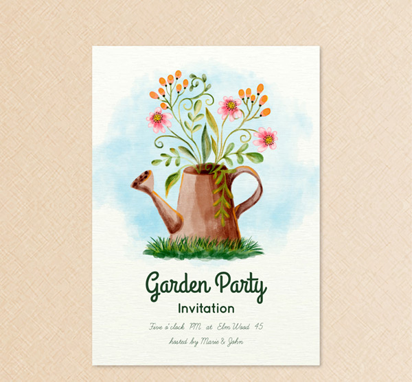 Flower arranging party invitation card