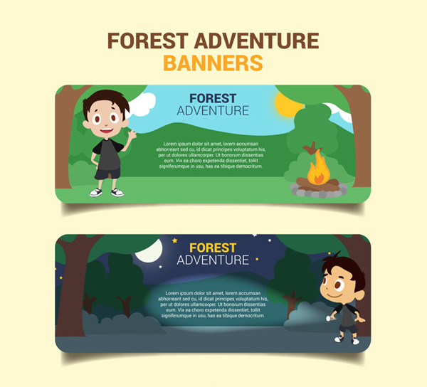 Forest camping banner