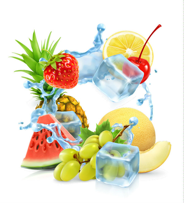 Fruit and ice vector